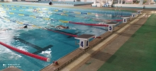 In Khujand, a team of athletes is training in swimming